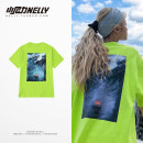 T-shirt Youth fashion Fluorescent green routine S,M,L,XL,2XL,3XL HEYBIG Short sleeve Crew neck easy daily summer THDX4653AA Cotton 100% teenagers routine tide 2019 Alphanumeric printing cotton washing Fashion brand