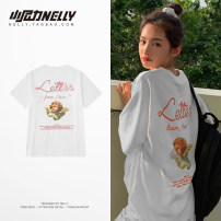 T-shirt Youth fashion white routine S,M,L,XL,2XL,3XL HEYBIG Short sleeve Crew neck easy daily summer THDX4943AZ Cotton 100% teenagers routine tide 2021 printing cotton other washing Fashion brand