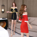 Dress Summer 2020 Black, red S,XL,L,M,XXL Short skirt singleton  Short sleeve commute V-neck middle-waisted Decor Socket A-line skirt other straps 25-29 years old Type A Korean version Printing, asymmetry, stitching 71% (inclusive) - 80% (inclusive) knitting polyester fiber