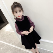 Dress Spring 2021 Mid length dress Two piece set Long sleeves Sweet Pile collar middle-waisted Solid color Socket A-line skirt Lotus leaf sleeve Others Type A Button More than 95% other other princess