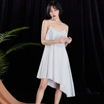 Nightdress Shengfen Average size Simplicity camisole pajamas Middle-skirt summer Solid color youth Lotus leaf edge Silk 200g and below