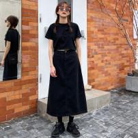 skirt Summer 2020 S,M,L Dark blue, light blue, black longuette Versatile High waist Denim skirt Solid color Type H 71% (inclusive) - 80% (inclusive) other Other / other other