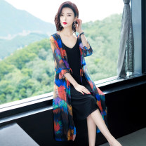 Lace / Chiffon Summer of 2019 M,L,XL,2XL,3XL Long sleeves commute Cardigan singleton  easy Medium length Hood Decor routine 40-49 years old Other / other Korean version