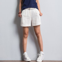 Casual pants White, green, red, blue M,L,XL Summer 2020 shorts Natural waist commute routine 51% (inclusive) - 70% (inclusive) Silk color hemp literature