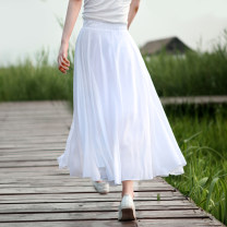 skirt Summer 2021 M, L White, purple, brick red longuette commute High waist Pleated skirt Solid color Type A c109231 31% (inclusive) - 50% (inclusive) other Silk color hemp literature