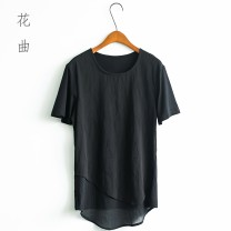 T-shirt Youth fashion black routine 4XL store manager 178cm, 68kg try on XL, fit for slim fit, slim size ml XL 2XL 3XL Others Short sleeve Crew neck Self cultivation banquet summer J850 teenagers routine tide 2018 Geometric pattern Assembly Cotton polyester Designer brand