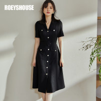 Dress Summer 2021 Black alternative S M L XL 2XL Mid length dress singleton  Short sleeve commute tailored collar middle-waisted Solid color Single breasted A-line skirt routine Others 30-34 years old Type A Roey s house Ol style Pocket lace up button LC03998 51% (inclusive) - 70% (inclusive) other