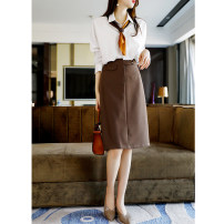 skirt Spring 2021 S (recommended 90-100 kg), m (recommended 100-110 kg), l (recommended 110-120 kg), XL (recommended 120-135 kg) Khaki, Navy, coffee Middle-skirt commute High waist A-line skirt Solid color Type A 1228BSQ2110 polyester fiber Button, zipper Korean version