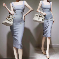Dress Summer 2020 Gray blue S,M,L,XL Middle-skirt singleton  Sleeveless commute square neck middle-waisted Solid color One pace skirt 18-24 years old Type H Korean version 30% and below