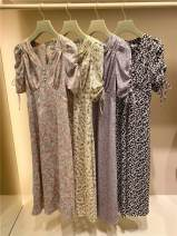 Dress Spring 2021 Pink, mint, lavender, brown, coming out at the end of the month 0=S,1=M Mid length dress Short sleeve commute V-neck High waist Broken flowers Socket A-line skirt puff sleeve sandy snidel Retro Lace up, button, strap, fold Chiffon