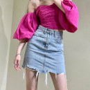 skirt Summer 2021 S,M,L,XL blue Short skirt Versatile High waist A-line skirt Solid color Type A Denim X-mier cotton Pocket, make old