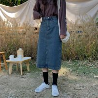 skirt Spring 2020 S,M,L,XL Nostalgic blue Mid length dress commute High waist Denim skirt Solid color Type A 18-24 years old Other / other Korean version