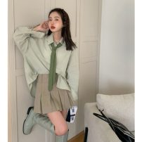 shirt Green shirt, striped skirt, green tie S. M, average size Spring 2021 other 31% (inclusive) - 50% (inclusive) Long sleeves commute Medium length Solid color 18-24 years old Korean version