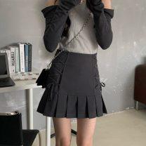 skirt Summer 2021 S,M,L dark grey Short skirt commute High waist Pleated skirt Solid color Type A 18-24 years old Bandage Korean version