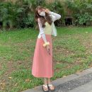 Fashion suit 1266 Summer 2021 18-25 years old White cardigan, yellow sling + hair circle, pink skirt One size fits all