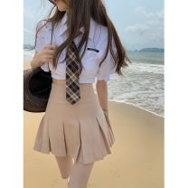 skirt Summer 2021 S. M, l, average size White shirt (with tie) 11118, khaki pleated skirt 11119 Short skirt commute High waist Pleated skirt Solid color Type A 18-24 years old 11118#11119 Korean version