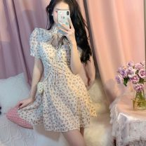 Dress Summer 2021 Apricot, black S,M,L Middle-skirt singleton  Short sleeve commute stand collar Broken flowers 18-24 years old Retro Frenulum 6265#