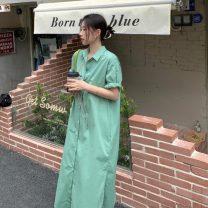 Dress Summer 2021 Apricot, light green, light blue Average size longuette singleton  Short sleeve commute Solid color Single breasted 18-24 years old Korean version