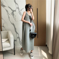 Dress Summer 2021 Black, white, flower grey M, L Mid length dress singleton  Sleeveless commute Crew neck High waist Solid color Socket other routine Others 25-29 years old Type H 71% (inclusive) - 80% (inclusive) other cotton