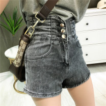 Jeans Summer 2021 Grey, denim S,M,L,XL shorts High waist Straight pants routine 25-29 years old washing Cotton denim 71% (inclusive) - 80% (inclusive)