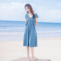 Dress Summer 2021 blue XS,S,M,L Mid length dress singleton  Short sleeve commute V-neck High waist Solid color Single breasted A-line skirt routine Others Type A Korean version Bows, ties, buttons More than 95% other other