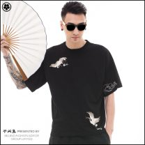 T-shirt Youth fashion White, black routine 165/80A,170/84A,175/88A,180/92A,185/96A Semi free set Short sleeve Crew neck easy daily summer 18TX01821 Cotton 100% youth Bat sleeve Chinese style Sweat cloth 2018 Animal design Embroidery cotton Chinese culture Designer brand