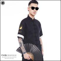 Tang costume Semi free set black 165/80A,170/84A,175/88A,180/92A,185/96A 2018 summer hemp youth leisure time