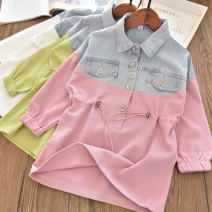 Dress Pink denim stitching, white denim stitching female Other / other The recommended height is 100cm for clothing label 5, 110cm for clothing label 7, 120cm for clothing label 9, 130cm for clothing label 11 and 140cm for clothing label 13 Other 100% spring and autumn leisure time Long sleeves other