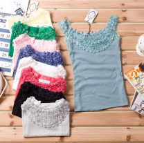 Vest sling Summer of 2019 White, gray, black, rose red, watermelon red, yellow, blue, pink, bean green, beige (apricot) Average size singleton  routine Self cultivation Versatile camisole Solid color cotton Three dimensional decoration, lace