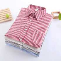 shirt Dark coffee stripe, red stripe, grey green stripe, dark grey stripe, beige stripe, light blue stripe S,M,L,XL Autumn 2015 cotton 96% and above Long sleeves commute Regular Polo collar Single row multi button routine stripe Straight cylinder Korean version