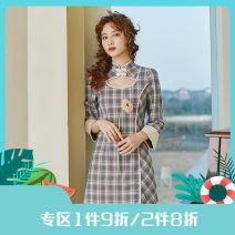 Dress Spring 2021 Blue and white S,M,L Short skirt singleton  Long sleeves commute stand collar High waist lattice A button A-line skirt routine Others 25-29 years old Type X Annie Chen Retro Asymmetry Cut out short plaid dress with front neck yfc1093 More than 95% other polyester fiber