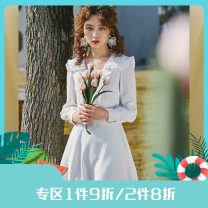 Dress Spring 2021 white S,M,L Middle-skirt singleton  Long sleeves commute V-neck High waist Solid color Socket A-line skirt bishop sleeve Others 25-29 years old Type A Annie Chen Retro Bow tie, Auricularia auricula Butterfly adornment Lapel short dress yac1028 More than 95% other polyester fiber