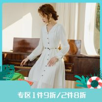 Dress Spring 2021 White, white pre-sale S,M,L Mid length dress singleton  Long sleeves V-neck High waist Solid color Single breasted A-line skirt routine Others 25-29 years old Type A Annie Chen Chain, ear, button Pearl belt dress with irregular bottom other