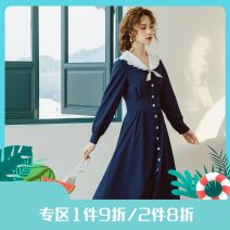 Dress Spring 2021 Tibetan blue lattice, Tibetan blue lattice pre-sale S,M,L Mid length dress singleton  Long sleeves commute V-neck High waist other Single breasted other shirt sleeve Others 25-29 years old Type X Annie Chen Retro Auricularia auricula, lace up, stitching, button More than 95% Chiffon