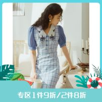 Dress Summer 2020 Blue, blue, second batch S,M,L Middle-skirt Short sleeve commute V-neck High waist lattice A-line skirt puff sleeve 25-29 years old Type A Annie Chen Retro Embroidered collar shell button Plaid Dress yfx0403 30% and below other