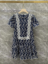 Dress Summer 2020 blue S,M,L Mid length dress Two piece set Short sleeve street Crew neck High waist zipper A-line skirt routine Others Type A Europe and America