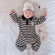 Jumpsuit / climbing suit / Khaki Yaoen Class A neutral Black and white bar 66cm,73cm,80cm,90cm cotton spring and autumn Long sleeves Long climb Korean version There are models in the real shooting nothing Cotton 95% other 5% Buckle Chinese Mainland