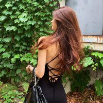 Dress Spring 2020 black S,M,L,XL,2XL,3XL,4XL,5XL,6XL longuette singleton  street V-neck High waist Solid color camisole modal  Europe and America