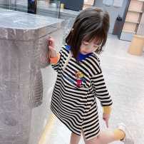 Dress Black, orange female Other / other 80cm,90cm,100cm,110cm,120cm,130cm Other 100% spring and autumn Korean version Long sleeves stripe cotton A-line skirt F028 12 months, 6 months, 9 months, 18 months, 2 years old, 3 years old, 4 years old, 5 years old, 6 years old, 7 years old, 8 years old