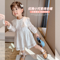 Dress white female Little elephant Size 80 is about 80C, Size 90 is about 90cm (model size, size 100 is about 100C, Size 110 is about 110C, Size 120 is about 120c, Size 130 is about 130c, size 140 is about 140C, size 150 is about 150C) Cotton 70% polyamide 30% spring and autumn Versatile Long sleeves