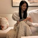 Dress Spring 2021 Ivory, beige S,M,L,XL longuette singleton  Short sleeve commute Crew neck High waist lattice Socket A-line skirt puff sleeve Type A Korean version fold 12D7006 81% (inclusive) - 90% (inclusive) polyester fiber