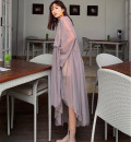Dress Summer of 2019 grey S, M Mid length dress singleton  Nine point sleeve commute V-neck middle-waisted Solid color Socket Irregular skirt other Others 25-29 years old Type A Korean version 51% (inclusive) - 70% (inclusive) organza  Cellulose acetate