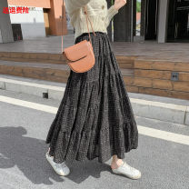 skirt Autumn 2020 Average size Black, khaki Mid length dress Versatile High waist Splicing style lattice Type A