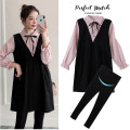 suit other Apricot, pink, pink + black pants (suit), apricot + black pants (suit) M,L,XL,XXL Korean version Long sleeve + skirt spring and autumn routine Solid color Cotton liner