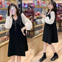Dress Other / other black M,L,XL,XXL Korean version Long sleeves Medium length spring V-neck Solid color polyester