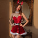 Fun suit Other / other spandex P Christmas Dress Christmas Dress Tight coating style Pole dancing hot suit Average size