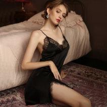 Fun pajamas Satin Other / other Fun nightdress J1021? Champagne, 1021? Black Short skirt 160(M),165(L)