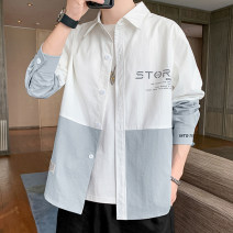 shirt Youth fashion Others M,L,XL,2XL,3XL,4XL G19 black, G19 medium gray, G19 white, G18 medium gray, G18 black routine other Long sleeves easy Travel? spring youth tide 2021 Color woven fabric No iron treatment printing