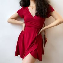 Dress Summer 2020 Red, dark blue S,M,L,XL Short skirt singleton  Short sleeve V-neck High waist Solid color camisole 18-24 years old Type A 31% (inclusive) - 50% (inclusive) cotton