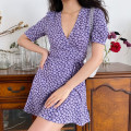 Dress Summer of 2019 S,M,L Short skirt singleton  Short sleeve V-neck High waist Decor A-line skirt routine Others 18-24 years old Type A Frenulum 71% (inclusive) - 80% (inclusive) Polypropylene fiber